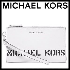 NEW MICHAEL Michael Kors Logo Double Zip Wristlet
